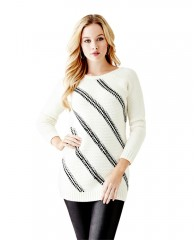 Long Sleeve Diagonal-Stitch Sweater