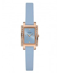 BLUE AND ROSE GOLD-TONE PETITE RECTANGLE WATCH