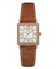 TAN AND ROSE GOLD-TONE SQUARE WATCH