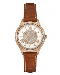 TAN AND ROSE GOLD-TONE SPARKLE WATCH