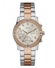 SILVER AND ROSE GOLD-TONE SPORT WATCH