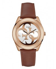 TAN AND ROSE GOLD-TONE LOGO WATCH
