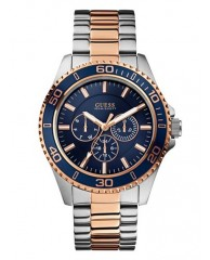 BLUE, SILVER AND ROSE GOLD-TONE SPORTWISE WATCH
