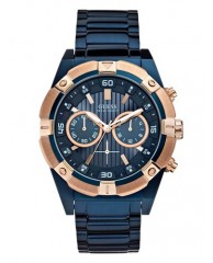 BLUE AND ROSE GOLD-TONE BOLD MASCULINE WATCH
