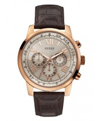 BROWN AND ROSE GOLD-TONE CLASSIC CHRONOGRAPH SPORT WATCH