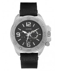 BLACK AND SILVER-TONE LEATHER WATCH