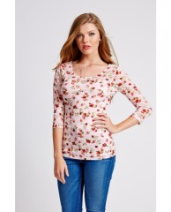 Three-Quarter Sleeve Printed Lace Top