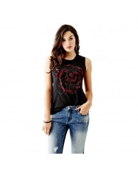 Sleeveless Side-Lace Rose Tank