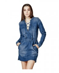 Lace-Up Safari Denim Shirtdress