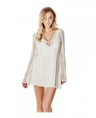 Adalina Long-Sleeve Crochet Dress
