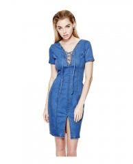 Shalay Push-Up Laced Denim Dress