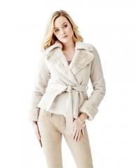 Faux-Fur Collar Leatherette Coat