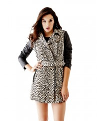 Quilted Faux Leather-Sleeve Trench Coat