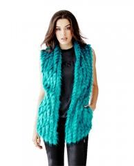 Sleeveless Mixed-Faux-Fur Vest