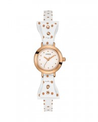 White and Rose Gold-Tone Petite Bow Watch