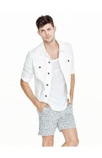 Dillon Coated-Sleeve Denim Jacket in Optic White Wash